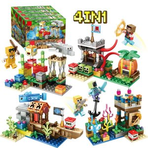 Compatible splicing blocks Minecraft Four in one Assembling model toys Children's festival gift game role