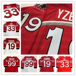 Wayne Gretzky 1998 Nagano Olympics Equipe Equipe Vermelho Hóquei Jerseys 19 Steve Yzerman Patrick Roy Bordado personalizado Personalizar qualquer nome e dígito jersey