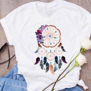 남성과 여성 그래픽 깃털 수채화 물감 남자와 여자 탑스 짧은 소매 streetwear 의류 귀여운 90 년대 의류 레이디 티셔츠 여성 셔츠