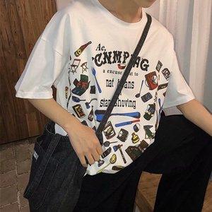 Искусство Мужские напечатанные Футболка Мужская Harajuku Свободная футболка Летний Коротким Рукавом Capri