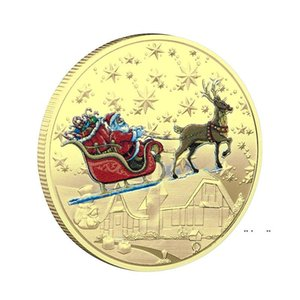 Santa Commemorative Gold Coins Decorations Embossed Color Printing Snowman Christmas gift Medal FWB10252