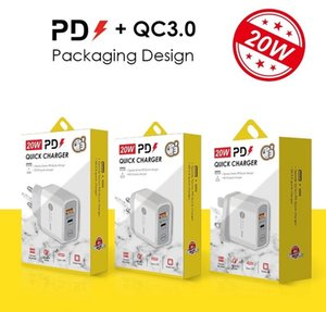 PD Typ-C 18W 20W Ladegerät mit QC3.0 Adaptive Fast Lading USB-Handy Dual Port Wall Travel Charger für iPhone 12 Samsung S20 S10