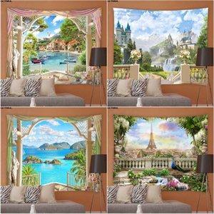 Tapices Ventana Paisaje Tapizaje Natural Paisaje Hippie Fondo Muro Colgante Dormitorio Dormitorio Jardín Manteles Decoración del hogar