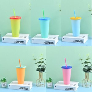 Summer 24oz Color Changing Cups Iced Coffee Drinkware PP Magic plastic cup Reusable with Straw Set Cold Drink Cups DWD7659