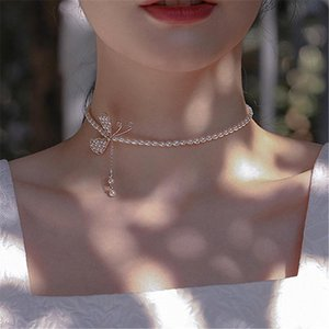 Mode Elegante Bowknot Inline mit Perlen Quasten Chokers Halsketten Schlüsselbeinketten Geschenk für Frauen