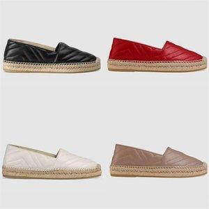 Женские кожаные эспадриль сандал дизайнерские туфли Черный теленокскин платформа Espadrille Slip-на повседневной обуви шнур платформы мягкие подошвы обувь 5 цветов с коробкой