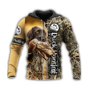 Мужские толстовки для толстовки утки охота 3D все на печати Crewneck молния открытый повседневный призвание спортивная уличная одежда унисекс мужская одежда
