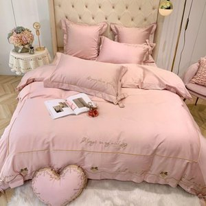 Solid Pink Red Girls Bedding Love You Embroidery Duvet Cover 4 7Pieces Set King Queen Size Bed Sheet Pillow Shams Sets
