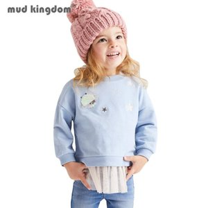 Hoodies & Sweatshirts Mudkingdom Girl Solid Sequin Star Lace Patchwork Long Sleeve Tops Girls Clothes Spring Autumn Kids Casual Clothing