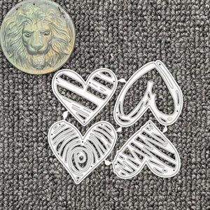 Painting Supplies 4PCS Heart-shaped Metal Cutting Die Scrapbook Embossing Manual Card Cover Materials DIY Production