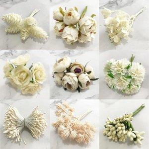 Decorative Flowers & Wreaths 6 10 12 70 90pcs Hybrid Ivory Flower Cherry Stamen Berries Bundle DIY Christmas Wedding Cake Gift Box Decor