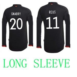 2021 Allemagne manches longues de football Jerseys de football Noir LS Hummels Kroos Sain Sain Draxler Reus Reus Muller Getze Coupe Europe Football Chemises Uniformes + Kit Kit Kit