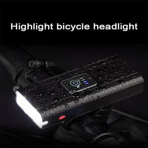 2*T6 Bicycle Light USB Rechargeable Headlight Smart Electric Display Cycling Outdoor Waterproof MTB Ro Floodlights