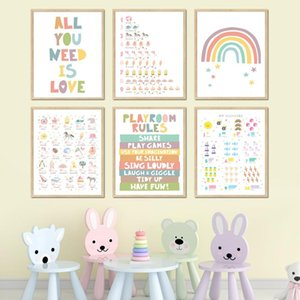 Paintings Alphabet Digital Table Rainbow Nursery Cartoon Wall Art Canvas Painting Nordic Posters And Prints Pictures Child Room Decor