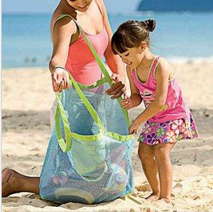 INS Boys Girls Children Mesh Handbag Sand Bag Sandboxes Backpack Mesh Beach Bag Tote Kids Shell Collector Toys Storage Bags 45*30cm D3302