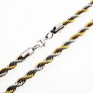 Breite 2mm und 4mm Edelstahl Seilkette Gold Halskette Aussage Swag 316L Edelstahl Twisted Halskette Goldkette 265 R2