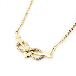 Forever Love Infinity Pendentif Collier Collier Colar Colar Safe Steel Chain Arrow Coeur Pour Femmes Engagement Colliers Cadeaux