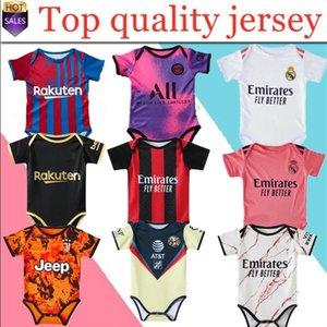 2021 2022 jerseys de futebol de bebê 6 a 18 meses camisas de futebol bola kits infantil squad bodysuit 20 21 roupas rastejando maillots futbol
