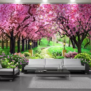 Custom 3d Landscape Wallcovering Wallpaper Forest Park Pink Trees Flower Sea Beautiful Scenery Interior Home Decor Painting Mural Wallpapers