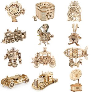 DIY 3D Wooden Puzzle Gear Model Building Kit Toys Gift For Children Teens
