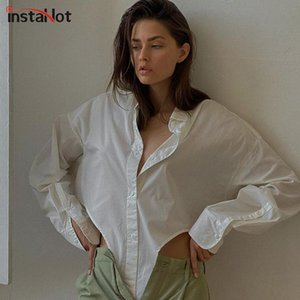 Elegant Casual Women Shirt Long Sleeve Asymmetric Button Cropped Top Blouse Spring Autumn Streetwear Solid Shirts