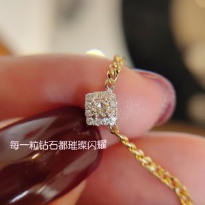 Chains 18K Solid Yellow Real Gold Jewelry(AU750) Women Diamond Clavicle Chain 10 Points South African Diamonds Wedding Necklace Pendant