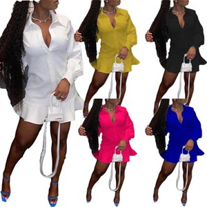 Autumn Women Fashion Cardigan Shirt Solid Color Dress sexy V neck long sleeve ruffled skirt dresses casual streetwear ladies party clothes plus size womens clothing