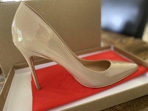 [Mit box] 2021 hochwertige rote untere damen high heels schuhe nackte farbe spitze sandalen für frauen party hochzeit dreifach schwarz gelb rosa glitter kleid 688x