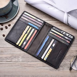 Card Holders THINKTHENDO Retro Genuine Leather Cowhide Travel Passport ID Cover Holder Case Protector Organizer Wallet Black Color