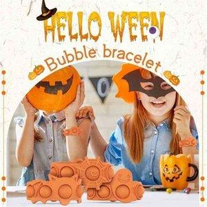 Halloween Push Bubble Silicone Bracelets Decompression Fidget Finger Toys Bracelet Puzzle Press Stress Wristband Sensory bubble key chain G84ISHM