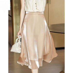 Skirts Women 2021 Spring Autumn Female Casual Vintage Solid High Waist Knee-Length A-Line Ladies Elegant Chic A769