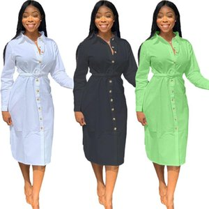 Casual Donne Solid Shirt Dress Dress 2021 Autunno Ultima Lady's Giurn-Down Coller Abiti a full Single-Breeded Abiti a mezza vitello