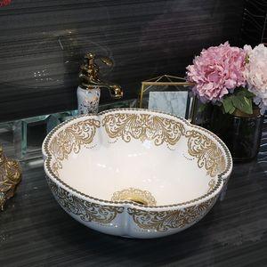 Europe style chinese washbasin Jingdezhen Art Counter Top ceramic white flower wash hand basin bathroom sinksgood qty