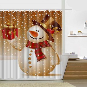 180 * 180cm 크리스마스 샤워 커튼 산타 클로스 눈사람 방수 욕실 샤워 커튼 장식 후크 21 디자인 OOD4655