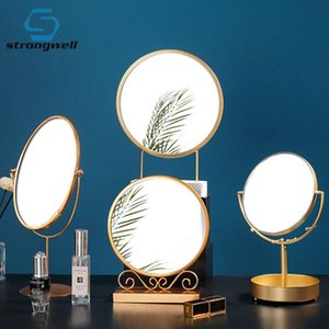 Strongwell Simple Ins Round Iron Princess Dressing Mirror Portable Desktop Makeup Creative Girl Nordic Home Bedroom Gift Mirrors