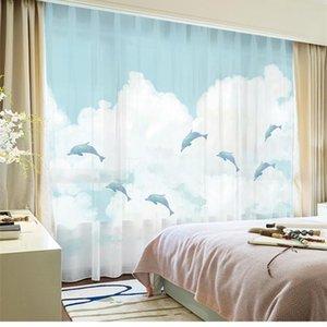 Curtain & Drapes Custom Chiffon Window Drape For Nursery Kids Children Living Room Dolphin Cloud Khaki Gray Brown Pink Blue