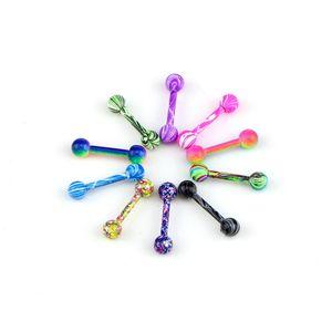100 adet Vücut Takı Piercing Dil Yüzük Barbells Meme Bar 14g ~ 1 .6mm x 16mm x 6mm Mix Güzel Renkler Noel Hediyesi 617 Q2