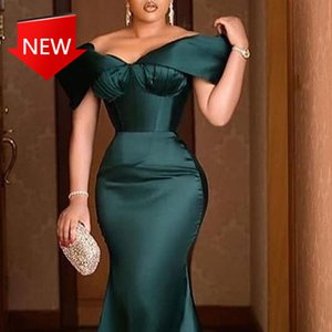 Maxi luxury dresses plus size female dress green off the shoulder elegant party at night dressed sexy celebrity