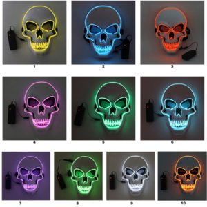 Halloween Skeleton Party Led Mask Mask Glow Scary El-Wire Skull Masks per bambini Newyear Night Club Masquerade Costume Cosplay