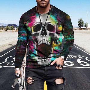 20 estilos Skulls Patrón Sudadera Gótico Muchachos Impresión Tops Fashion Hiphop Mens Sweatshirts con mangas de rosa al por mayor