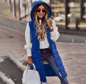 Multi Colors Quilted Vest Sleeveless Puffer Padded Long Coat Women Winter Longline Hooded Gilet Jacket Outwear Tops Ladies Bodywarmer Boutique Costumes G0224RW