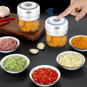 Ajo Master Press Herramienta USB Inalámbrico eléctrico Molino Vegetal Chili Carne Grinder Food Crusher Chopper Cocina Accesorios FWD5777