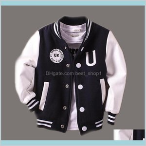 2-14T Baby Boy Clothes Boys Jacket Leather Spring Letter Outwear For Children Kids Coats Baseball Sweatershirt Lj201007 Txr39