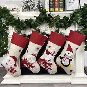 47x22cm Christmas Stocking Socks Non-woven fabric Old man snowman elk penguin Creative Santa Gift Bag Candy Dcoration Penda
