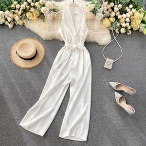 SINGRAIN Sleeveless Tank Rompers Women Summer Elegant V Neck Simple Solid Office Jumpsuits Fashion Streetwear Wide Leg Long Pant j5yK#