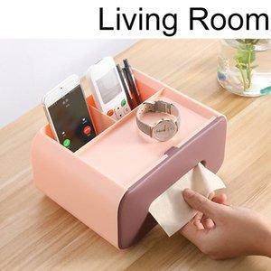 Tissue Boxes & Napkins Remote Control Storage Box Holder Coffee Table Container Desk Organizer Office Home Desktop Napkin Dispenser
