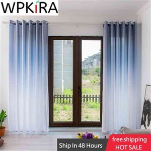 Fantasy Pure Color Upper Gradient Curtain For Bedroom Grey Window Panel Blue Semi-Shading Curtain in Living Room ZH408T 210831
