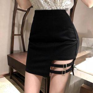 Skirts Black Irregular Hem For Women 2021 Arrival Fashion Sexy Solid Color High Waist Skinny Skirt Bodycon Mini