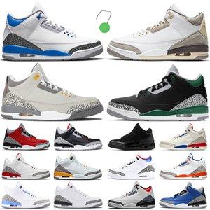 Retro Air Jordan 3 3s Basketball Shoes Jumpman AJ3 Racer Blue Cool Grey Rust Pink Katrina Tinker JTH Black Cement Sports Sneakers Mens Trainers