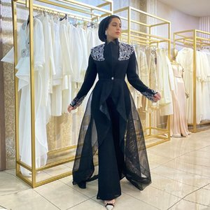 Fashionable Black Prom Oufit Dresses High Neck Long Sleeve With Coat Mulim Special Occasion Dress Jumpsuit Arabic Dubai Evening Gown